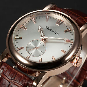 AgentX Rose Gold Roman Analog Sub Dial Minimalist Elite Mens Brown Leather Watch - <span itemprop=availableAtOrFrom>UK, United Kingdom</span> - Please contact us through ebay message if you have any problems, including shipping and satisfaction, with the transaction. We will give you feedback as soon as possible. We can offer replacem - UK, United Kingdom