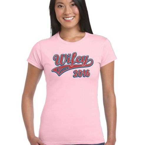 Wifey Since 2016 Womens Funny Wedding Anniversary T-Shirt Wife Valentines Day