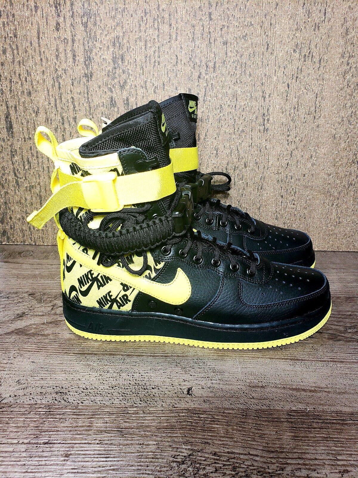 Nike SF AF1 Air Force One High Dynamic Yellow Black Sz 9.5 AR1955 001 WINTERIZED