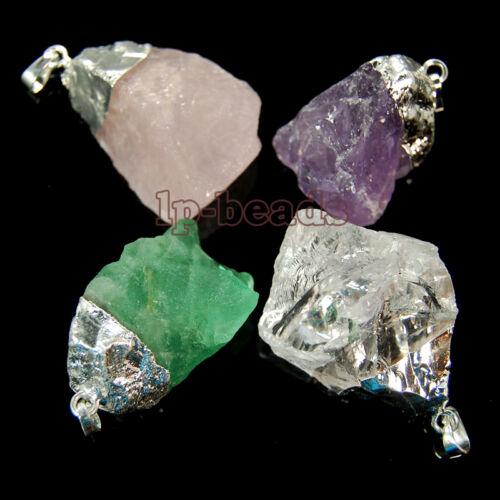25-35mm Natural Amethyst Fluorite Quartz Gemstones Healing Reiki Beads Pendant