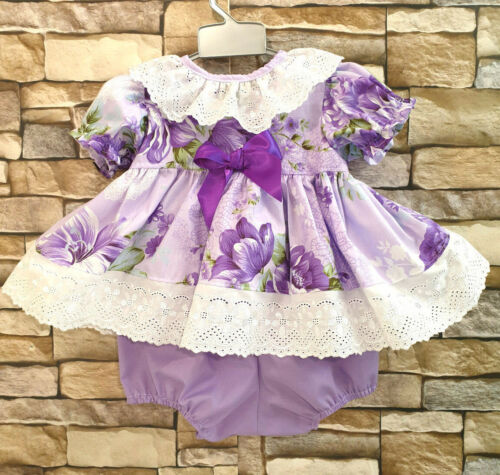 DREAM 0-5 YEARS LILAC LAVENDER SPANISH BLOUSE TOP /& BUBBLE PANTS OR REBORN DOLLS