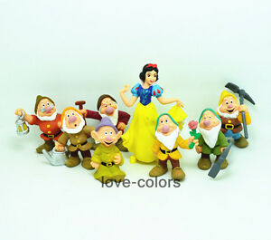 New Set of 8Pcs Snow White and the Seven Dwarfs Figures Cake Topper Toy Doll