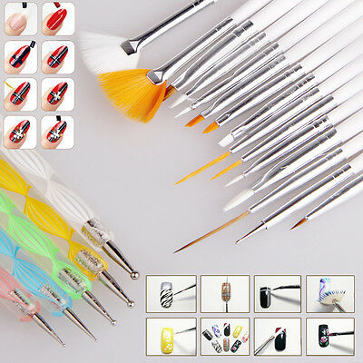 HOT! 20pcs Nail Art Design Set Dotting Painting Drawing Polish Brush Pen Tools