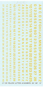 LY-100 - Yellow Letters and Numbers - 1/76-1/285 Decals