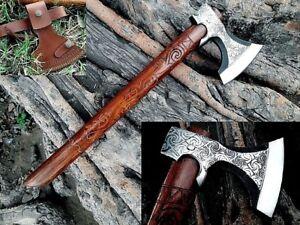 MDM Light bearded axe Hand Engraved Work on hatchet axe handle VIKING STYLE