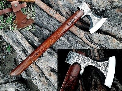 MDM TACTICAL ENGRAVE VINTAGE BREADED HATCHED COMBAT THROWING VIKING ToMAHAWK AXE
