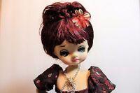 Vintage Black Lace Pose Boudoir DOLL Big Eyed Japan doll on Stand 18-inch