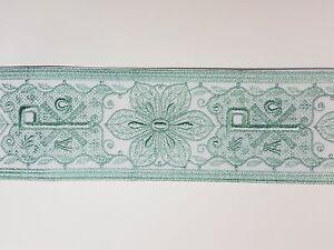 Vintage-Religioso-A-amp-o-Chi-Rho-Diseno-Verde-Menta-Encendido-Blanco-Banda-8-3cm