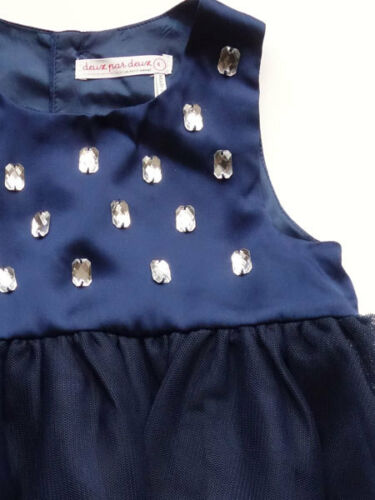 Deux Par Deux Sleeveless Girls Blue Party Dress Beaded Tulle Sizes 6M to 6 NWT