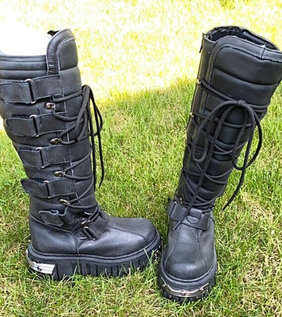 T.U.K. Anarchy Goth Punk Biker Leather Platform Boots metal toe men 6 Women 8