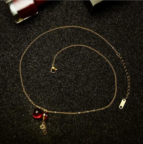 Red Lucky Bag Pendant Charm Chain Stainless Steel Necklace Fashion Women Jewelry