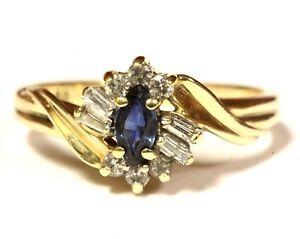 10k-yellow-gold-15ct-VS1-G-diamond-sapphire-cluster-ring-2-5g-vintage-womens