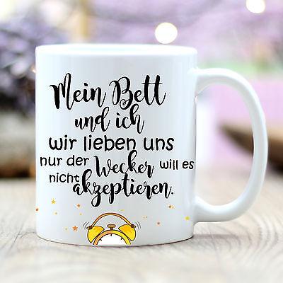 """T187 Wandtattoo Loft® Kaffee Tasse /""""Mein Bett und ich/"""" Wecker Aufstehen Lustig"""