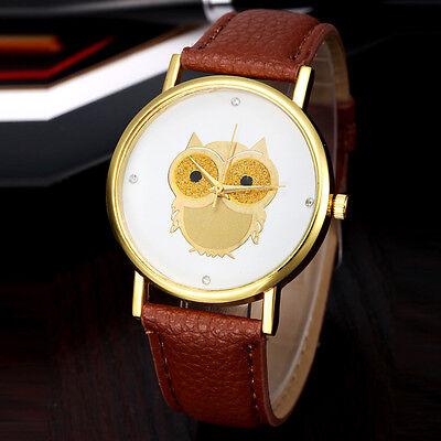 Fashion Women Girl Gold Owl Pattern WristWatch Leather Quartz Watch BW Stylish