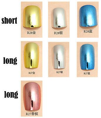 24x Super Lady Series Metallic Color Shiny Acrylic False Fake Full Nail Tips