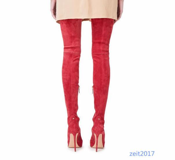 Schwarz Sexy Damen Stilettos 34-50 Spitz Overkneestiefel reißverschluß Stiefel 34-50 Stilettos Neu cf51a8