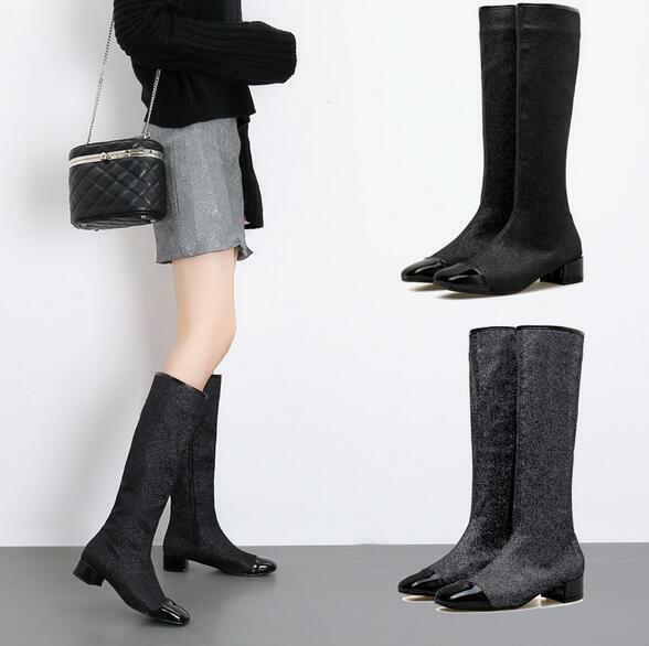 Women Fashion Sequins Square Toe Low Heels Casual Outdoor Knight Boots Shoes