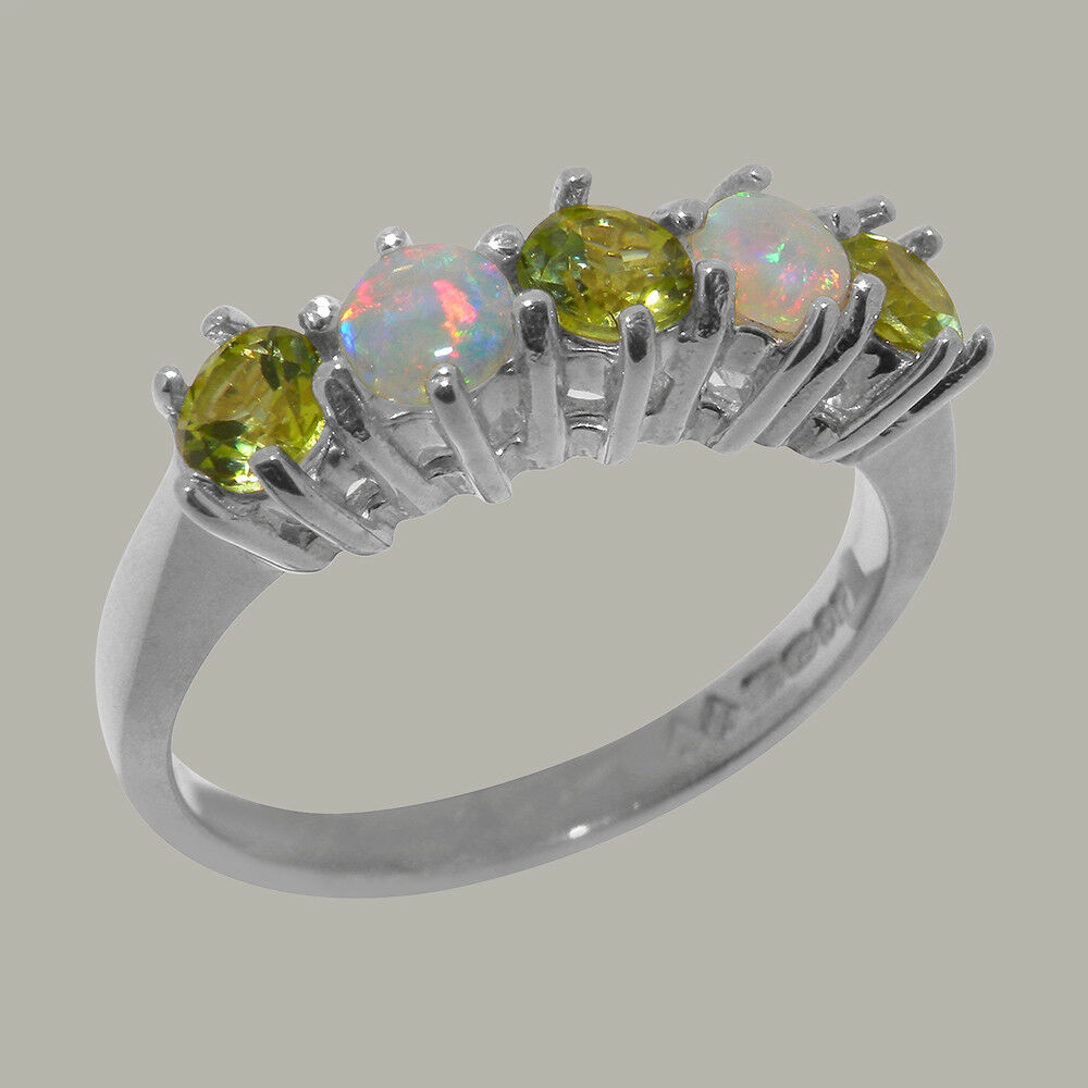 10ct White gold Natural Peridot & Opal Womens Eternity Ring - Sizes J to Z