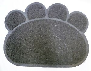 Gris Chats Chiens Paw Print Litter Tray Mat Chat Chien Animal Animaux Tidy Nettoyer Tapis Pot-afficher Le Titre D'origine