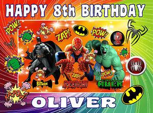 Edible super heros batman spiderman hulk happy birthday name letter cake topper ebay - Carte anniversaire super heros ...