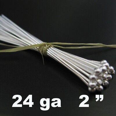 //1 2108 20pcs Ball end Head pins Silver 24gauge Ball Head pins 2inch 925 Sterling Silver