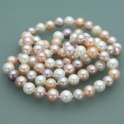 "Beautiful 7-7.5mm Pink Akoya Natural Pearl Necklace 18/"""