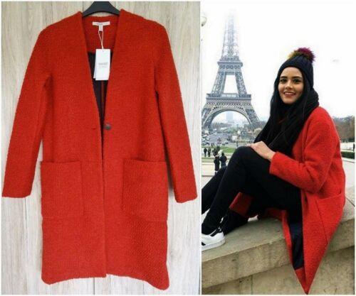 Jacket Burnt Zara S Size Wool Structured Orange Coat Stunning g7XBB