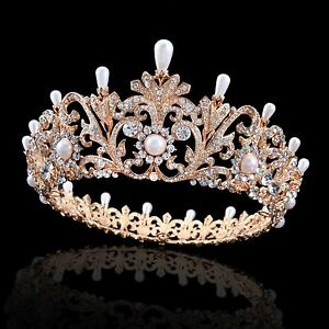 Prom king queen gold crystal rhinestone pearls tiaras wedding image is loading prom king queen gold crystal rhinestone amp pearls junglespirit Images