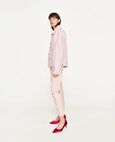 Zara Pink Mid Rise Slim Boyfriend Ribbed Jeans UK 6 12 16 US 2 8 12 Blogger❤