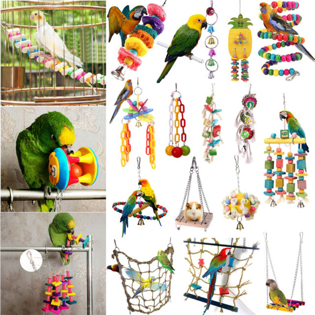 Lx10tqy Pet Bird Parrot Parakeet Cockatiel Wood Hanging Bell Stand Cage Swing Chew Funny Toy