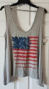 NWT-Jessica-Simpson-Gray-Womens-Floral-Flag-Cut-Out-Tank-Top-Size-L-Large