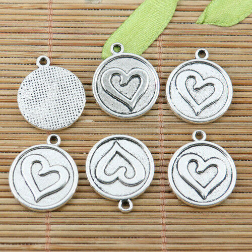 20pcs tibetan silver color 2sided heart charms EF1460