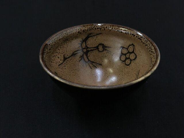 Pottery Tea Bowl Cup CHAWAN Tea Ceremony Bird Black