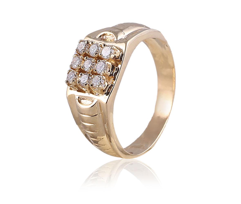 0.54 Cts Round Brilliant Cut Diamonds Men's Engagement Ring In Hallmark 14K gold