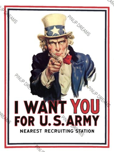 Vintage Wartime Poster I Want You For U.S Army-Patriotic Uncle Sam re-print