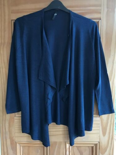 EVANS Brand New Navy Blue Black White Woven Waterfall Cardigan Top Size 14-32