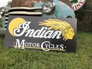 Antique Vintage Old Style Indian Motorcycles Sign