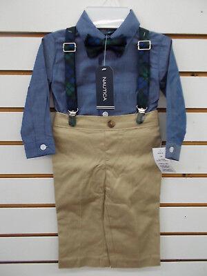 6//9m Infant Boys Nautica $50 4pc Chambray /& Khaki Suit w// Suspenders Size 3//6m