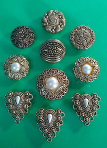 Button-Covers-Vintage-Lot-of-10-Gold-Tone-and-Faux-Pearls-Various-Designs