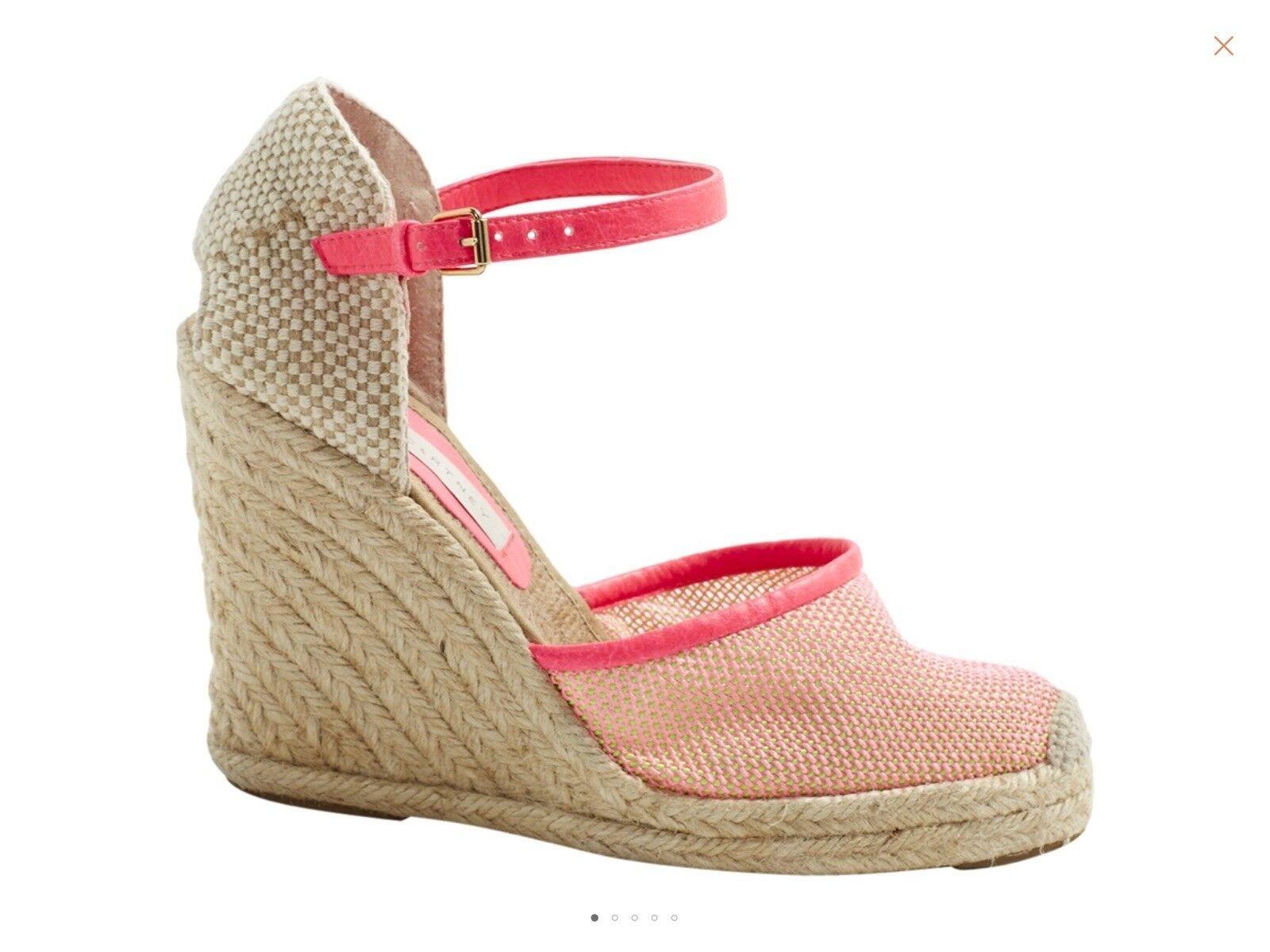 Stella McCartney Cordon des sandales compensées en rose fluo