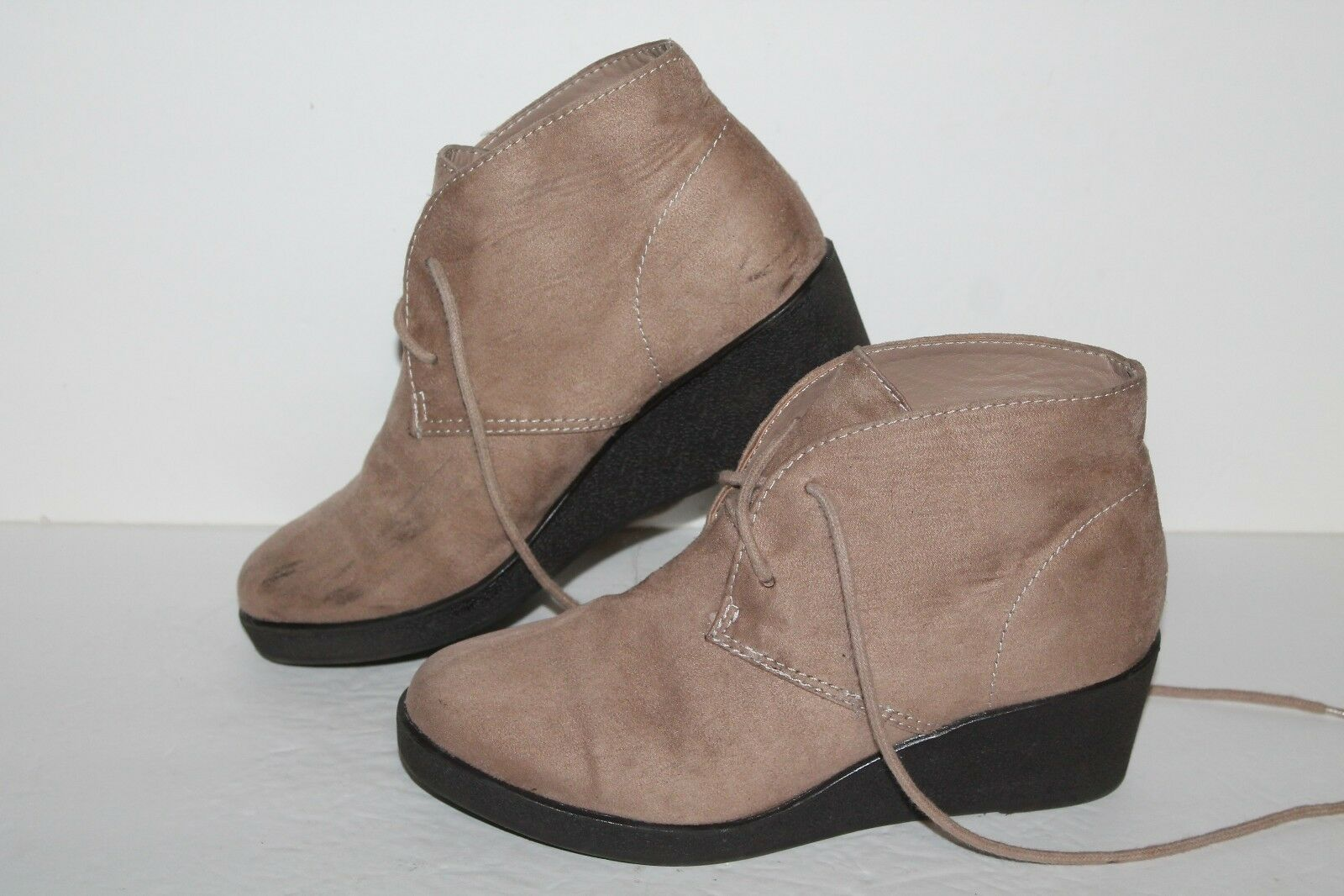 White Mt. Laveda Ankle Boots, Tan, Fabric, Women's US Size 5.5