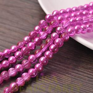 New-72pcs-8mm-Round-Glass-Loose-Spacer-Beads-Jewelry-Making-Deep-Pink