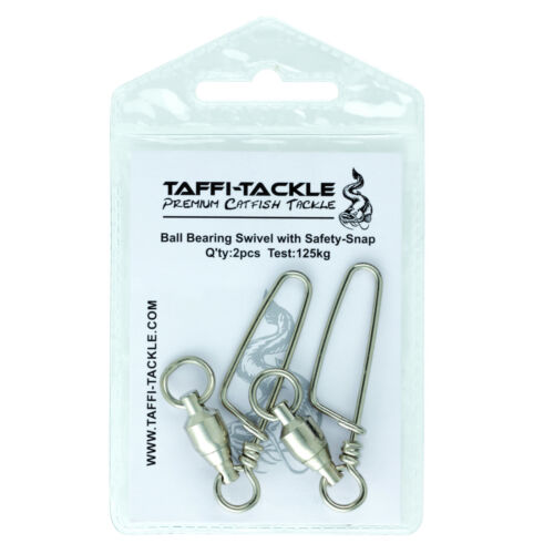Ball Bearing Swivels with Snap 125kg Taffi  Tackle Wels Waller Angeln Zubehör