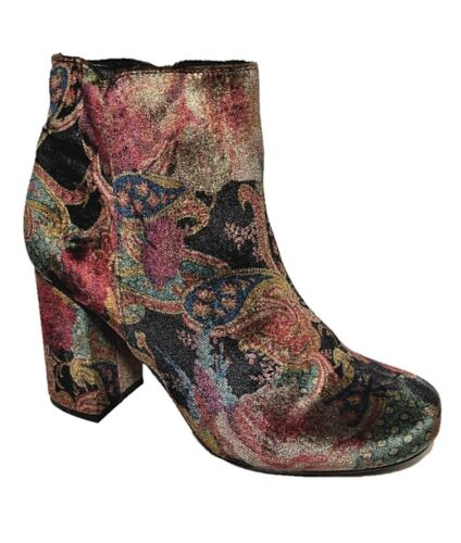 LA STRADA shoes  sz 39 8 Paisley Velvet ANKLE Boots leather-lined funky NEW