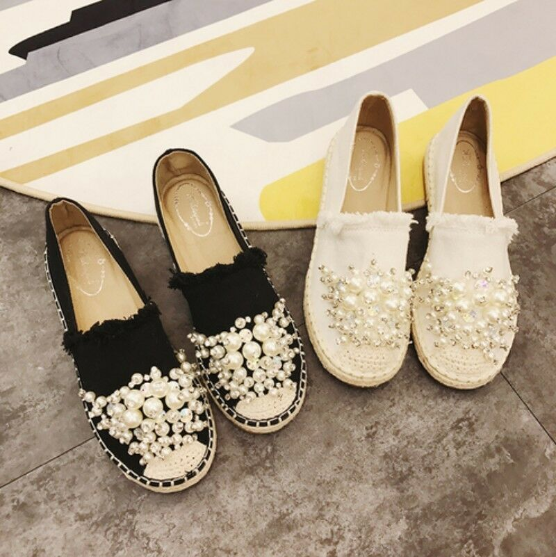 Women Round Toes Rhinestone Pull On Flat Heel Canvas Casual Comfort shoes
