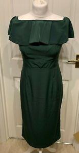 Nouveau-cocktail-vert-Midi-robe-avec-volant-Tailles-8-10-12-14-16-18