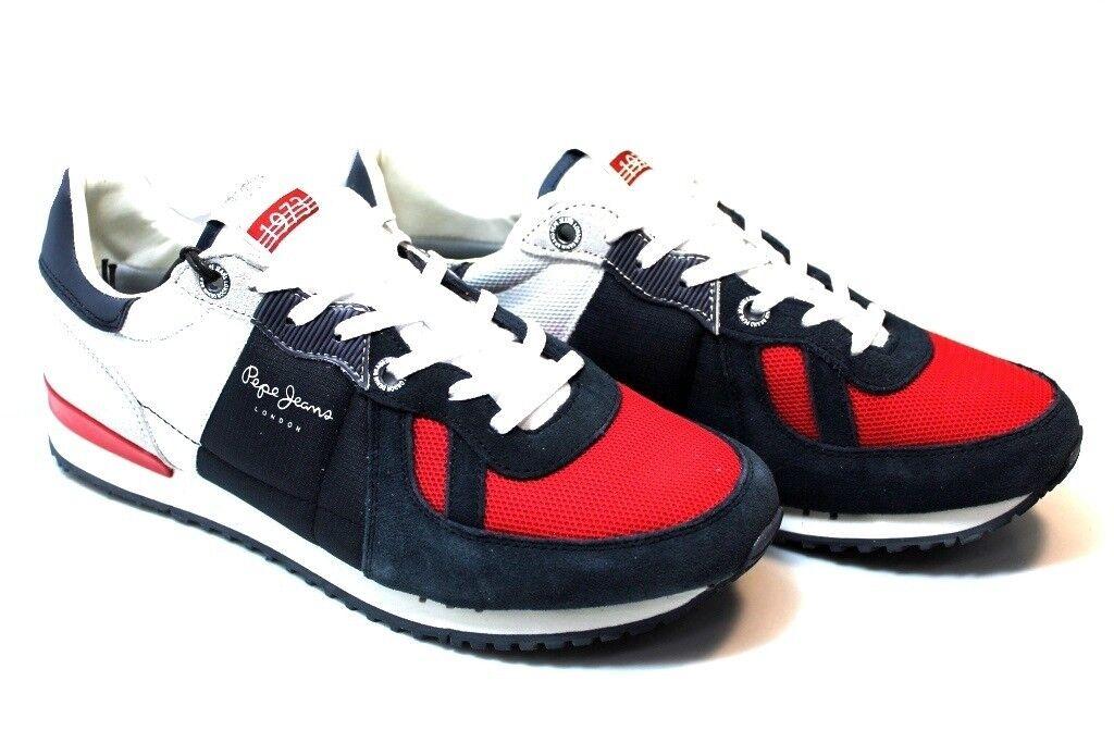 Scarpe casual da uomo Pepe Jeans London PMS30415 Blu Rosso Sneakers Uomo Scarpa Casual Sportiva
