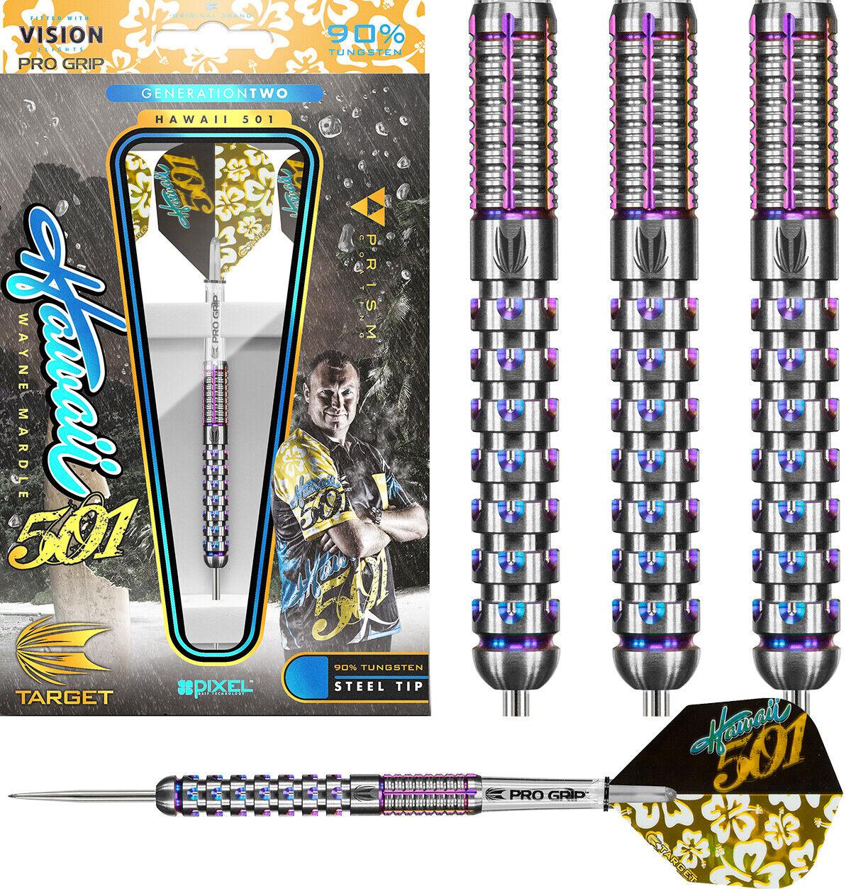 Target Wayne Mardle Hawaii 501 Gen 2 Pixel Grip Darts - 90% Tungsten FREE UK P&P