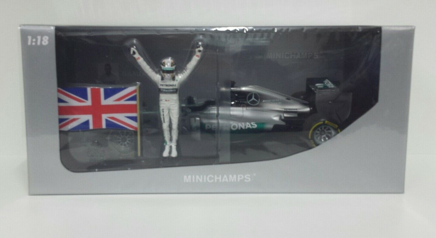 MINICHAMPS LEWIS HAMILTON 1 18 MERCEDES F1 WINNER GP ABU DHABI 2014 WITH FIGURE