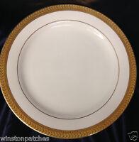 "SAKURA 1997 GOLD PORCELAIN DINNER PLATE 10 3/4"" GOLD LAUREL BAND & GOLD VERGE"